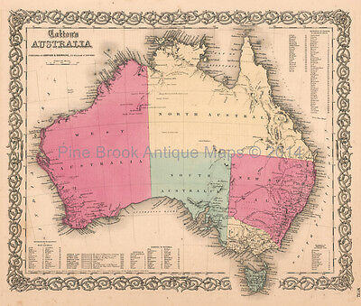 Australia Tasmania Antique Map Colton 1859 Original Decor Housewarming Gift