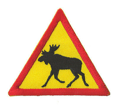 embroidered badge patch Danger Elan Reindeer Caribou Finland iron-on patch