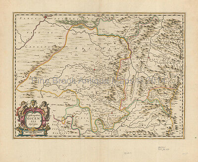 Huesca Jaca Aragon Antique Map Jansson 1650 Original