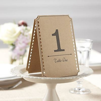 Vintage Affair Brown Kraft Table Numbers 1-12 Wedding Decoration