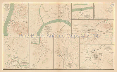 Johnsonville Clarksville Civil War Antique Map 1895 Original