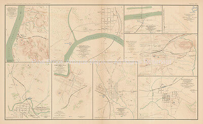 Johnsonville Clarksville Civil War Antique Map 1895 circa Original
