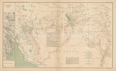 Department Of Utah Civil War Antique Map 1895 circa Original