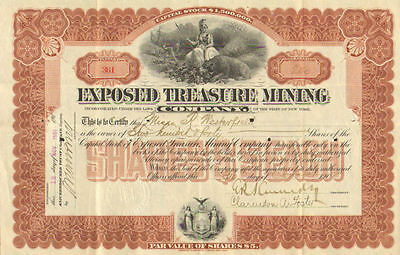 Exposed Treasure Mining > 1907 New York old stock certificate