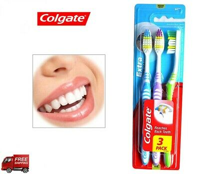 3 Pack Colgate Extra Clean Soft Grip Toothbrushes Medium
