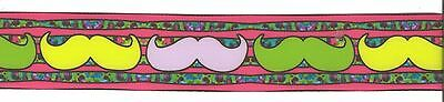 "Moustaches Colorful on pink grosgrain ribbon 1.5/"" x 3ft  CLEARANCE"