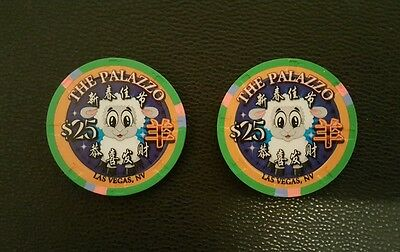 palazzo chinese new year of the sheep ram goat lamb $25 casino chip unc