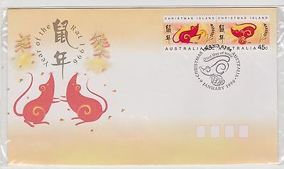 (ICD138) 1996 Christmas Island FDC 45c pair year of the rat (A)
