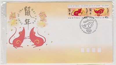 (ICD139) 1996 Christmas Island FDC 45c pair year of the rat (B)