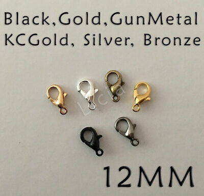 Silver Gunmetal KC Gold Bronze Plt Finding Lobster Claw Clasp Parrot Hooks 12mm