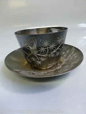 Antique James W. Tufts Aesthetic Movement Mustache Cup and Saucer #1362