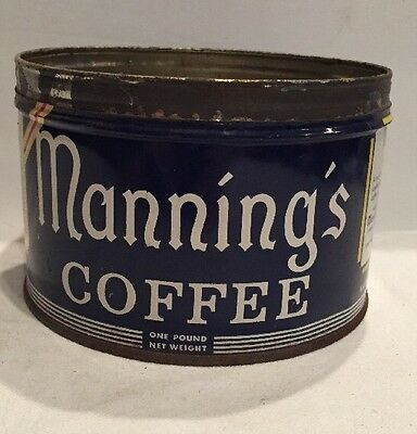 Vintage Manning's Coffee Tin Metal 1 lb Pound Can Missing Lid