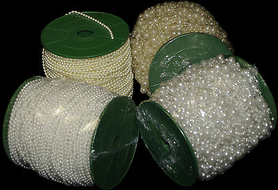 20 Metrer Ivory White Pearl Beads on String 8/ 3 mm Garland Wedding bouquet