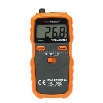 PEAKMETER PM6501 K Type LCD Digital Thermometer -50~ 750℃/-58~1382℉ Data Hold BL