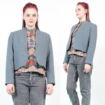 Womens Vintage Grey Blue Herringbone Cropped Open Fronted Blazer Jacket 14