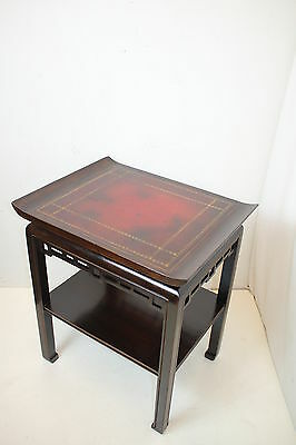 Unique Chinese Chippendale Side End Table w/ Leather Top, Fretwork Apron c.1920s