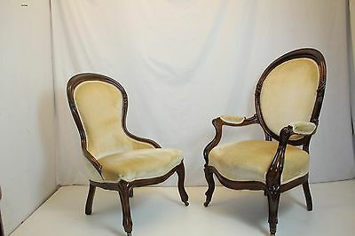 Antique Pair of Victorian Rosewood Ladies & Gentleman Chairs Circa 1880's