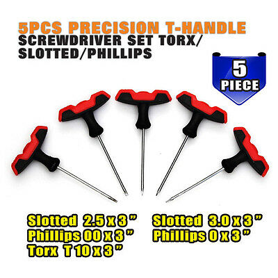 Precision T-Handle Screwdriver Set Torx T3 Slotted 2.5mm 3mm Phillips PH00 PH0