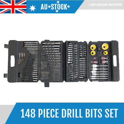 148 Drill Bits Set Tool Wood Timber Hole Saw Driver Bits Metal Aluminium Masonry