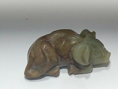 VINTAGE CARVED JADE PIG FIGURINE LUCKY TALISMAN CARVING HAND CARVED 2.5in