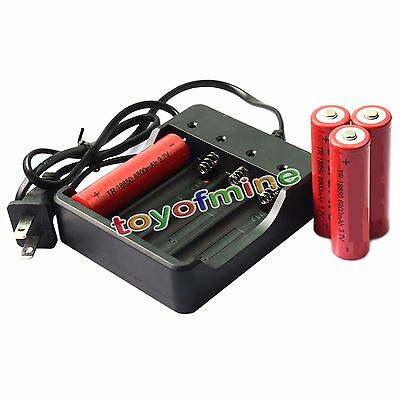 4pcs 3.7V 18650 UF Li-ion 6800mAh Rechargeable Battery for LED Torch + Charger