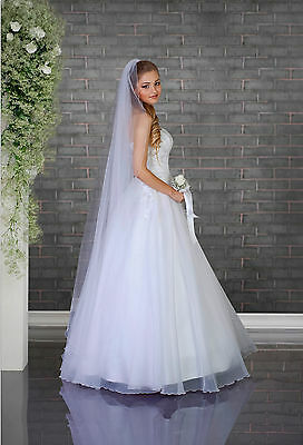 White/Ivory Wedding Prom Bridal 1 Tier Veil Cathedral 75""