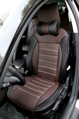 Front + Rear 5 seat Genenal Car Seat Cover PU Leather Fit for all car Black + B