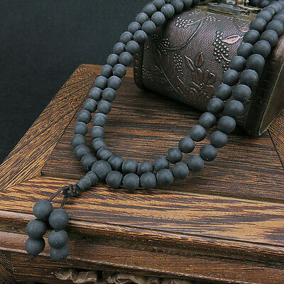 10mm Tibet Buddhism 108 Black Amber Beads Mala Necklace