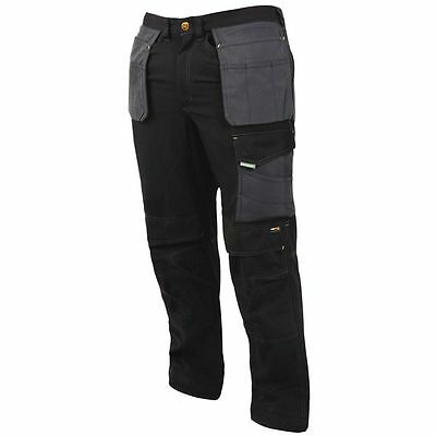 "Black / Grey Kneepad Holster Cargo Work Trousers 17 Pockets 38"" 40"" 42"" Waist"