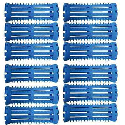 12 x Hair Tools Long BLUE Skelox Hair Rollers, 18mm Sealed Professional Quality