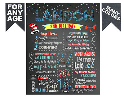2 DAYS DELIVERY- Birthday Chalkboard sign chalk board poster first 1st 2nd  #6