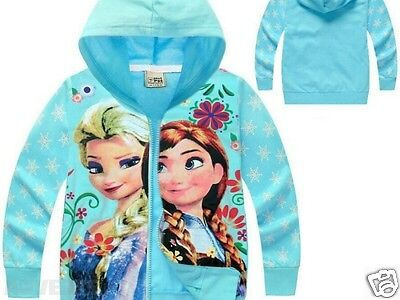 Frozen Girls Blue Elsa Anna Zipped Hoodie Jumper Sweater Jacket  girls age 2-3