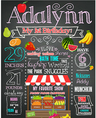 2 DAYS DELIVERY- Birthday Farmer's Market Chalkboard poster milestone sign #18