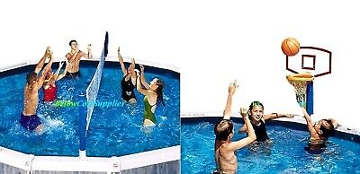 Fun Water Toy Combo Package Volleyball & Basketball Game Above Ground Pool