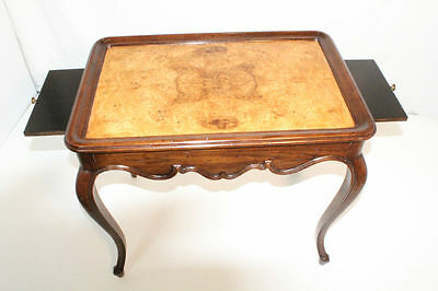 French Provincial Walnut Fruit Wood Side Table with Pull-Out Slides Circa 1920's
