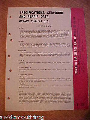 Ford Consul Cortina GT 1963 General Data Sheets issued by Ford Dagenham 1963