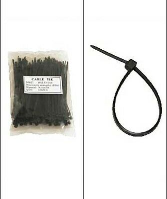 """500 Pack Lot Pcs Black 4"""" Inch Wire Management Nylon Tie Cable Zip Ties 18 lbs"""