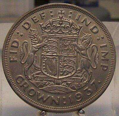 1937 Great Britain Silver 1 Crown, Old World Silver Coin