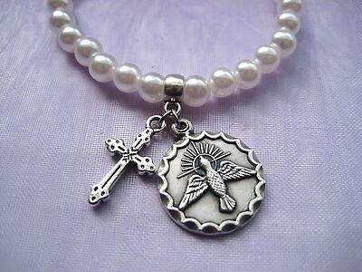 Confirmation First Holy Communion Pearl Bracelet with Holy Spirit & Cross Charm