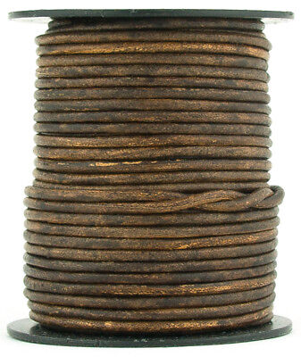 Xsotica® Brown Antique Round Leather Cord 1.5mm 25 meters (27 yards)