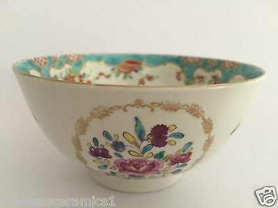 Antique Dr Wall Worcester Hand Painted Jabberwocky Pattern Porcelain Bowl