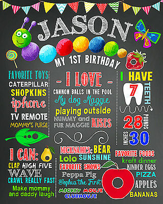 Birthday Very Hungry Caterpillar poster milestone sign first banner 1st 2nd 3rd