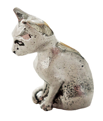 Cat Sitting Pewter Ornament - Hand Made in Cornwall
