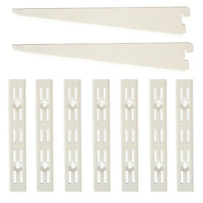 WHITE Twin Slot Shelving System Uprights Brackets Support Adjustable Racking