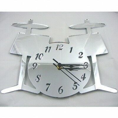 Drum Kit Clock - Acrylic Mirror (Several Sizes Available)