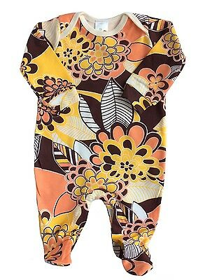 Hippy Retro Vintage Alternative 70s Floral Print Baby Girl Boy Sleepuit Outfit