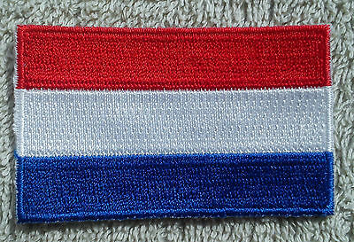 NETHERLANDS FLAG PATCH Embroidered Badge Iron Sew on 4.5cm x 6cm Nederland Dutch