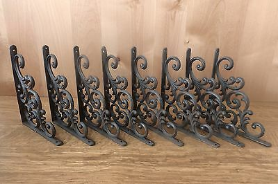 "8 BROWN ANTIQUE-STYLE  9.5"" SHELF BRACKETS CAST IRON garden rustic LEAF & VINE"