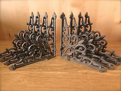 "8 BROWN ANTIQUE-STYLE 9.5"" SHELF BRACKETS CAST IRON rustic garden art ORNAMENTAL"