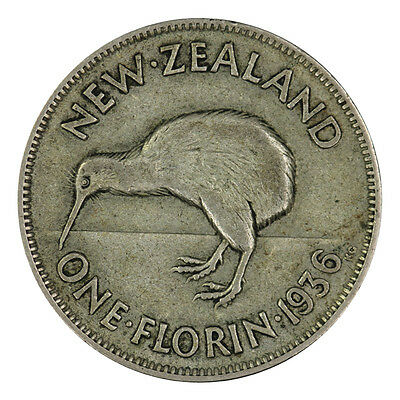 New Zealand 1936 Florin Coin KEY DATE in Very Fine
